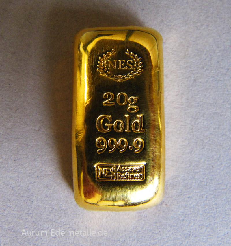 Goldbarren-20g-Feingold-999.9-NES
