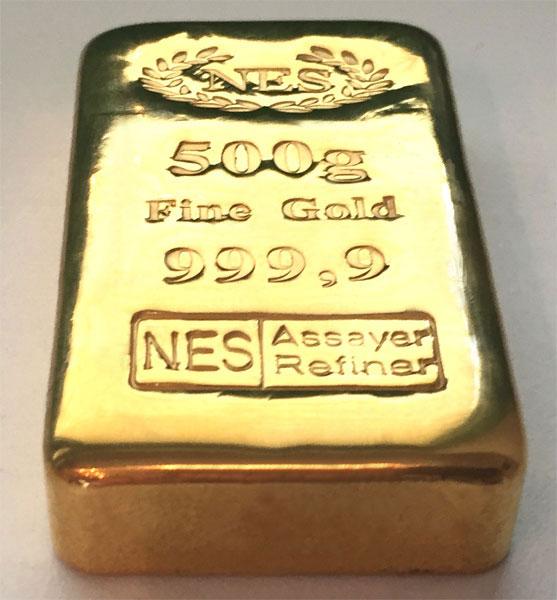 Goldbarren 500g-Feingold-9999-NES