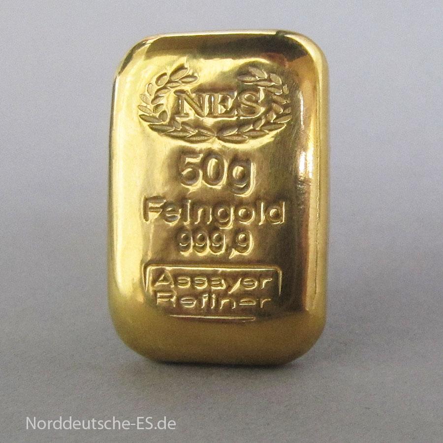 Goldbarren-50g-Feingold 9999 NES