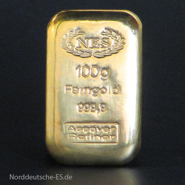 Goldbarren Norddeutsche Edelmetall 100g