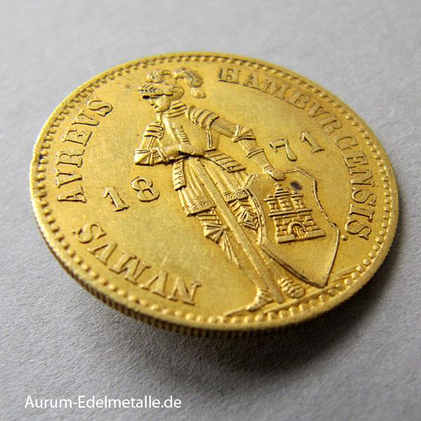 Umlaufmünze 1-Ducat-Gold-1868-1872-Hamburg-Ritter