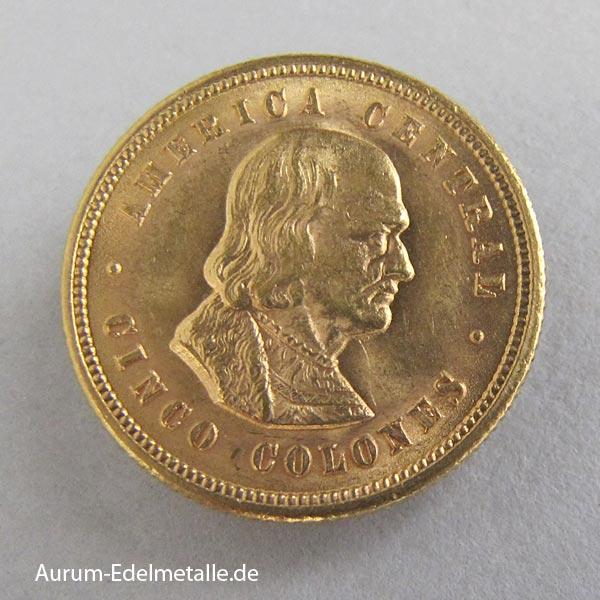 Umlaufmünze Costa-Rica-Goldmuenze-5-Colones-1899-1900